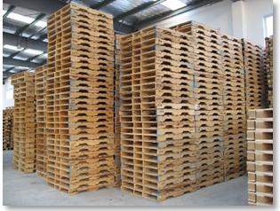 central de maderas estibas almacenadas